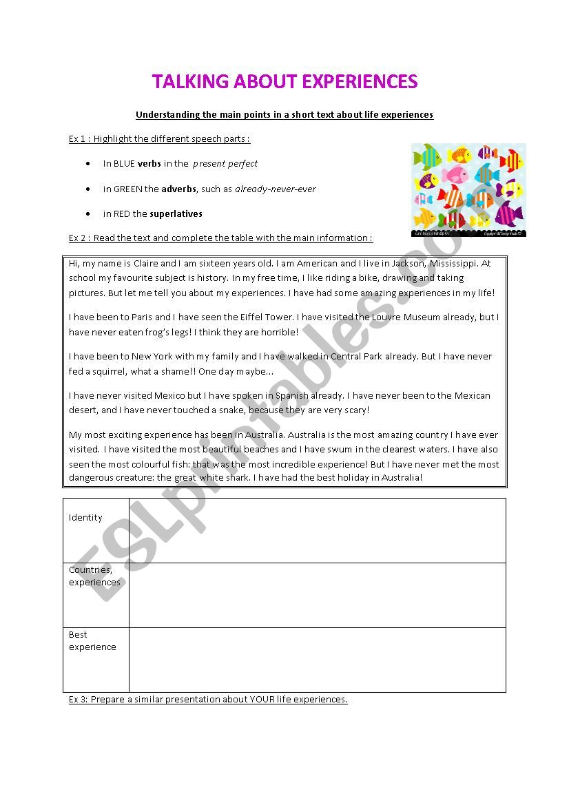 Talking about Experiences - ESL worksheet by misschief
