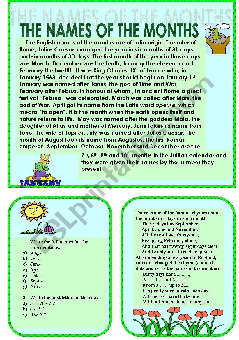 The names of the months worksheet