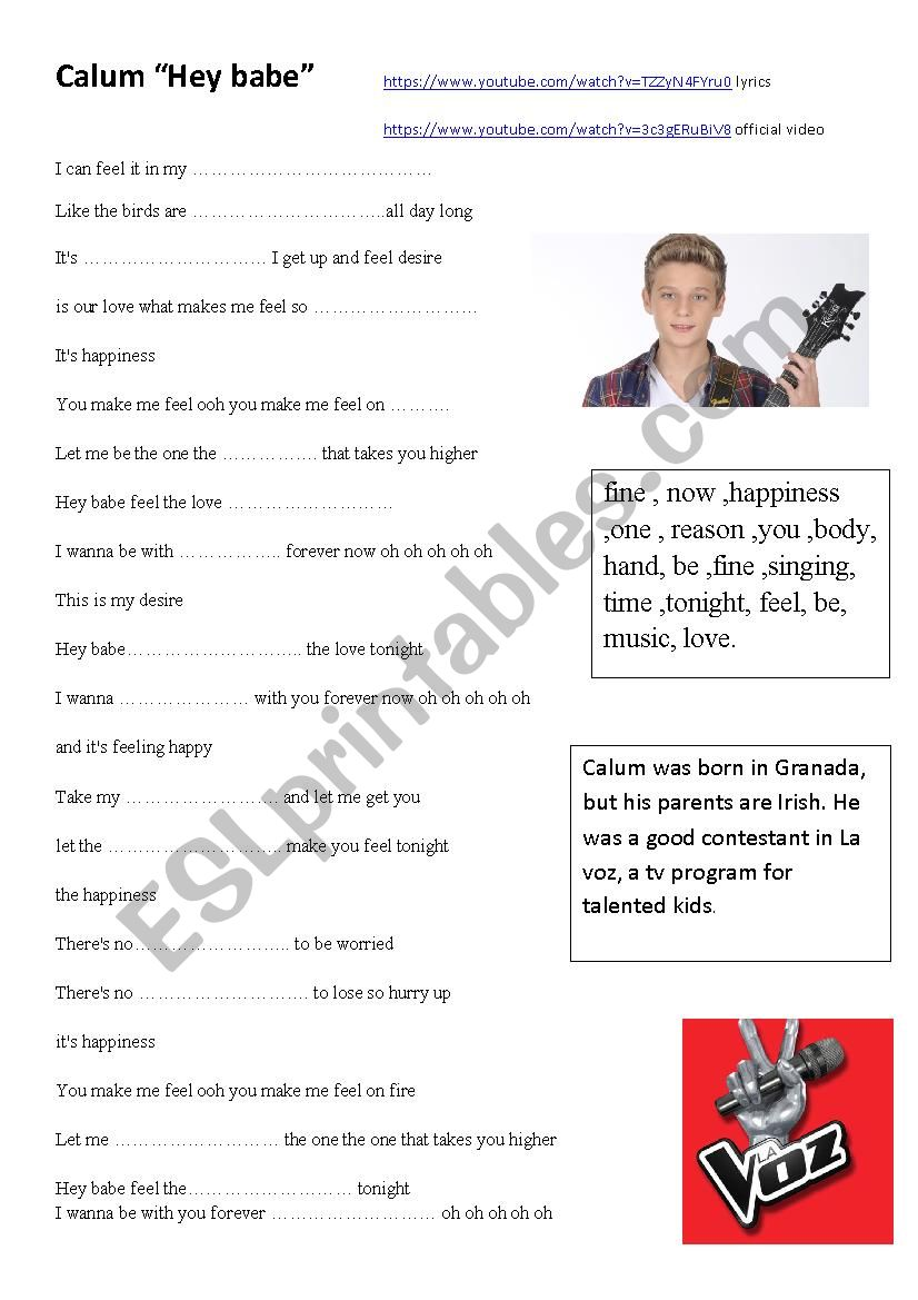 Song by Calum worksheet