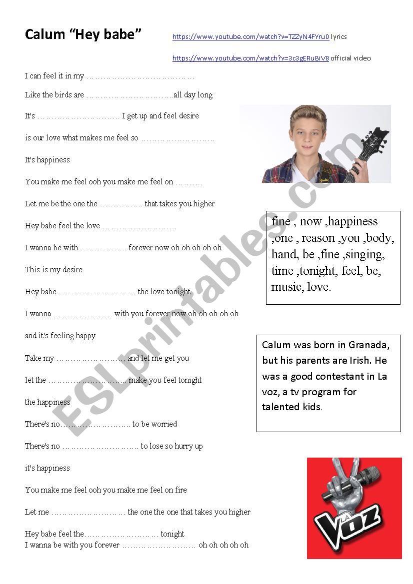 Song by Calum worksheet