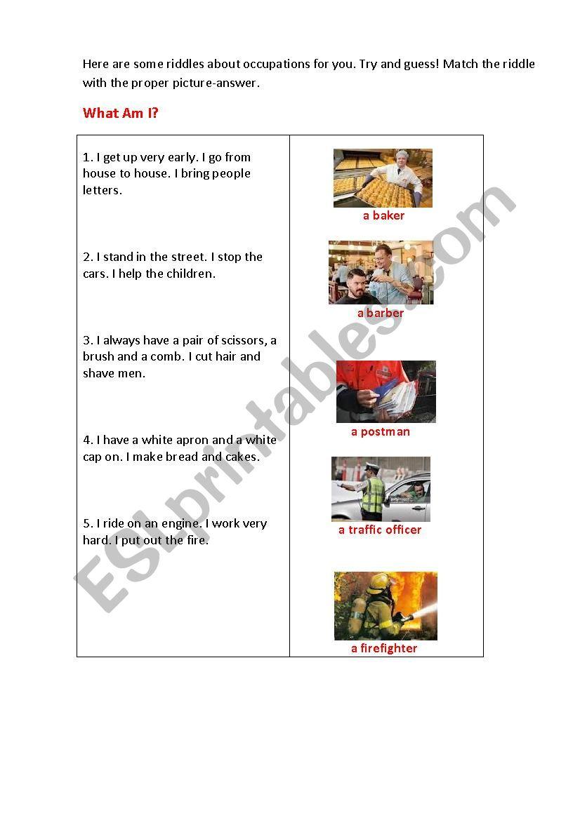 job riddles esl worksheet by korova daisy. Black Bedroom Furniture Sets. Home Design Ideas