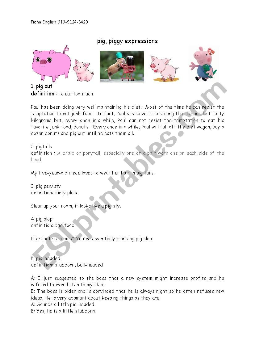 pig idioms - esl worksheet by sohwalee