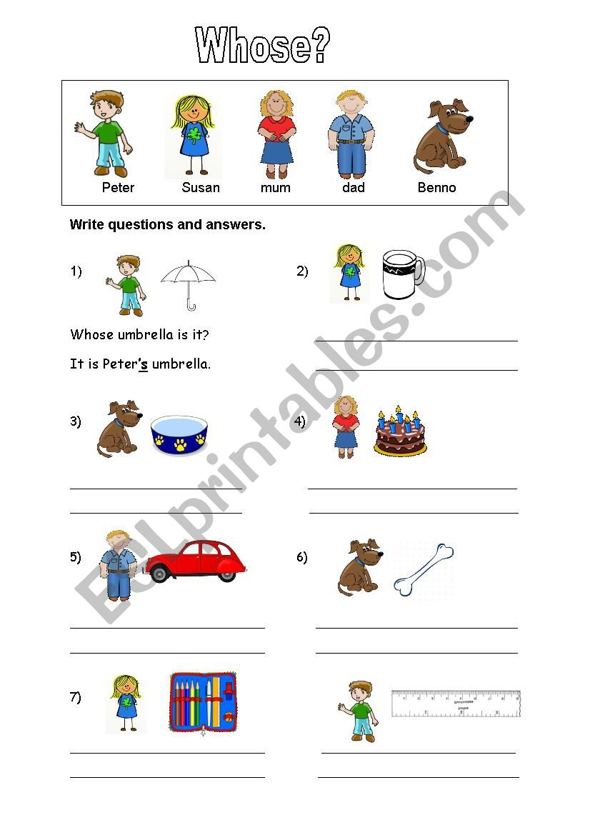 Whose is it? Whose are they? worksheet