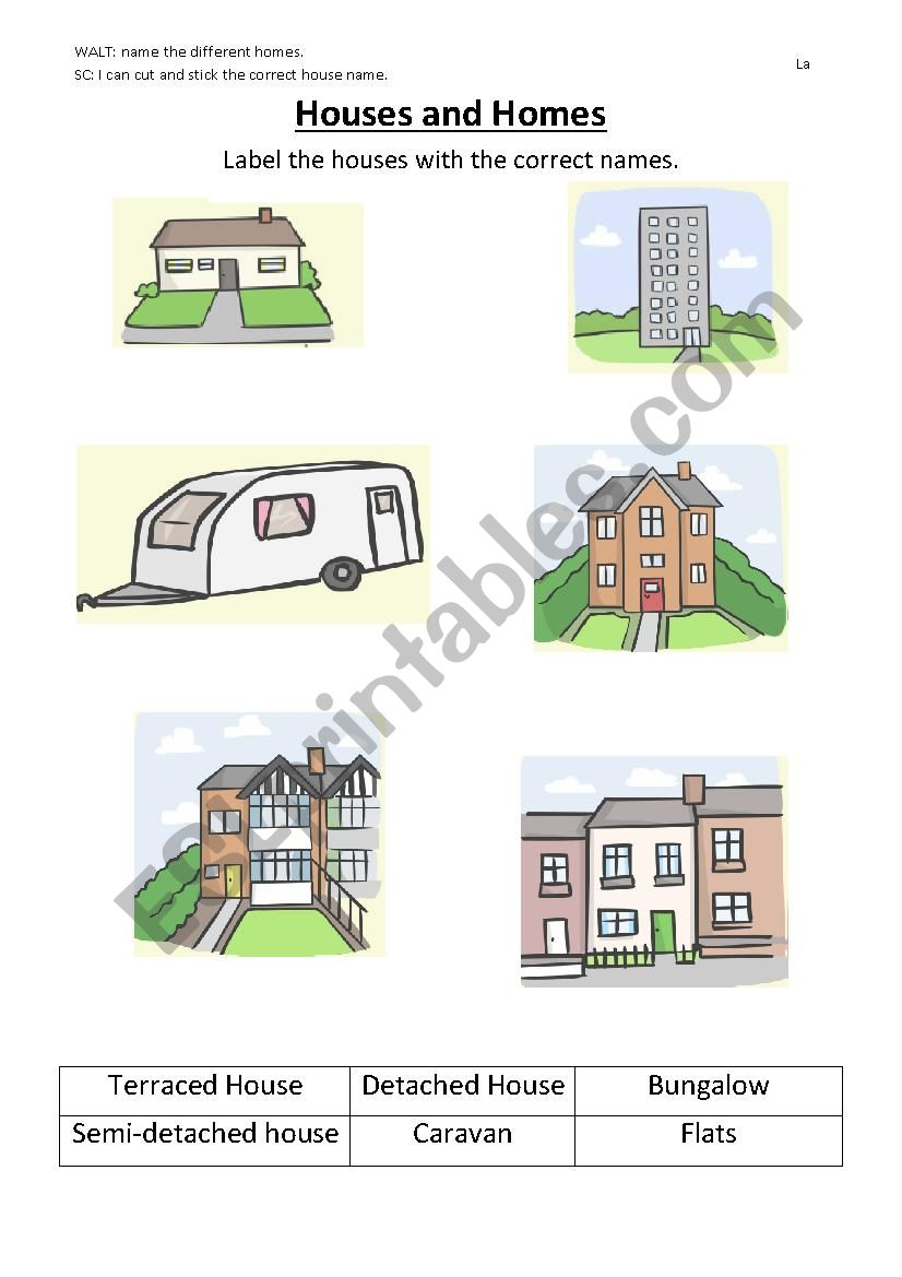 Types Of Houses Esl Worksheet By T Azraalshaikh Gmail Com