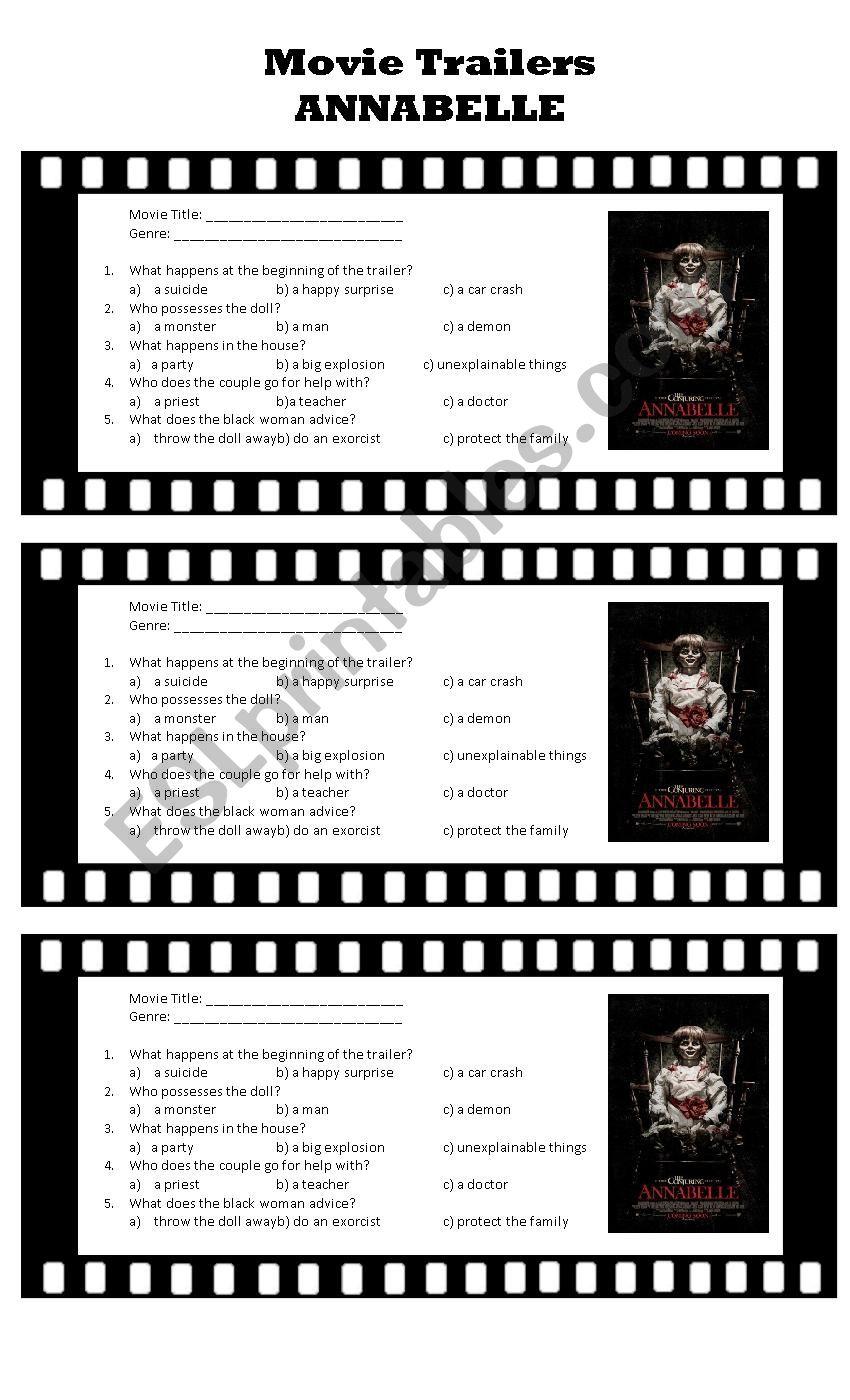 Movie Trailers: Annabelle worksheet