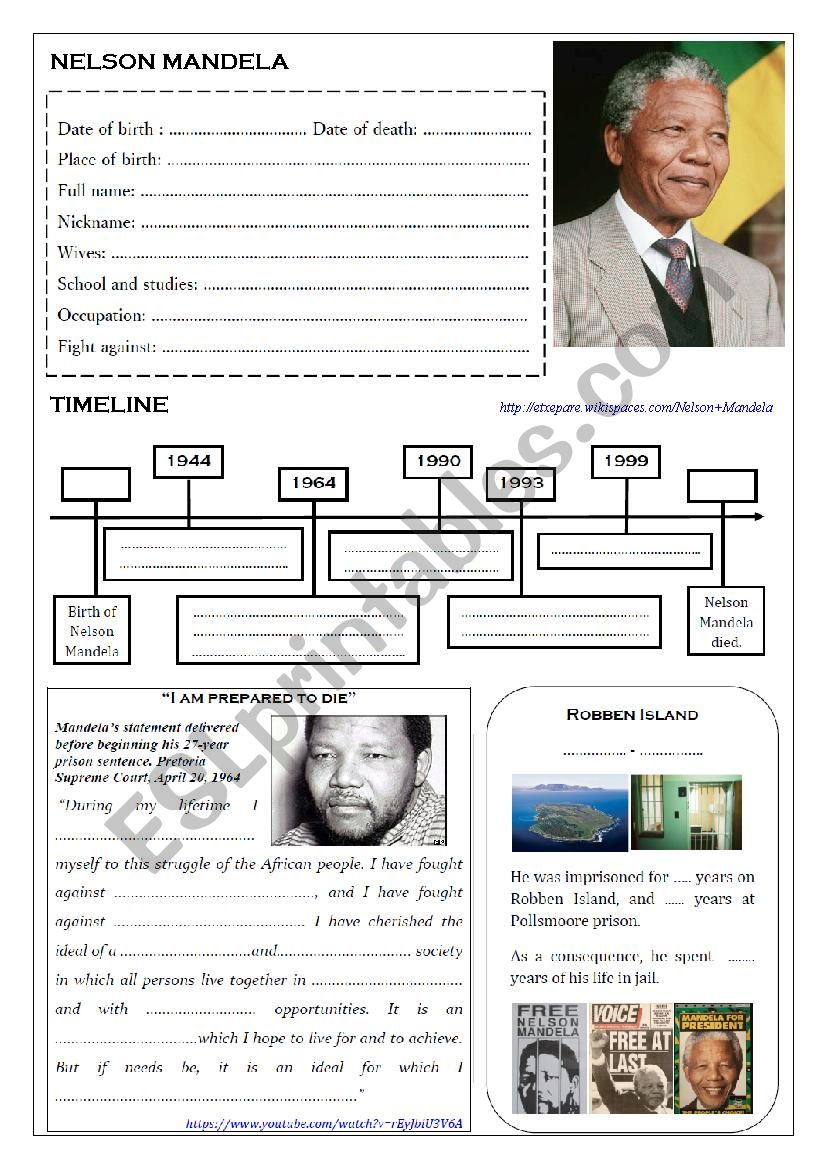 NELSON MANDELA worksheet