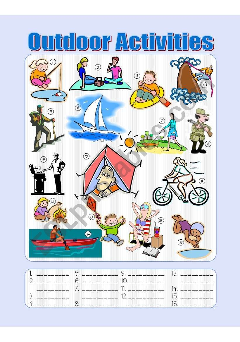 Outdoor Activities Picture Dictionary - Fill in the Blanks ...