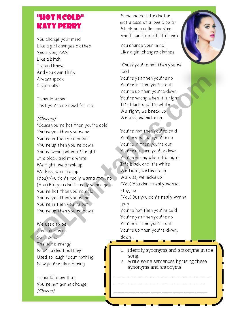 Hot ´n cold activity song worksheet