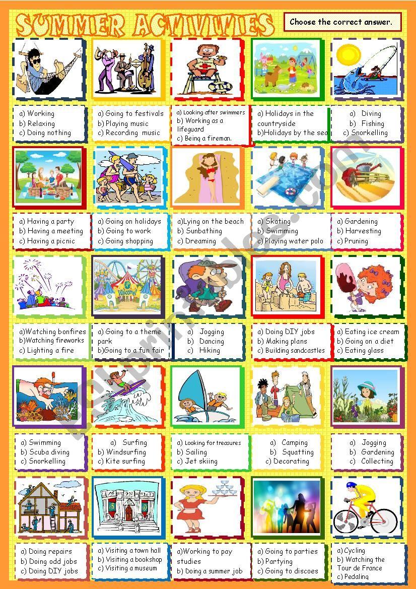 Summer Activities Esl Worksheet By Spied D Aignel