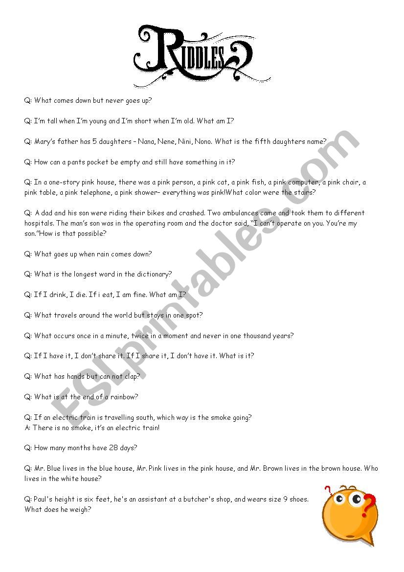 Riddles with answers - ESL worksheet by jbartochak
