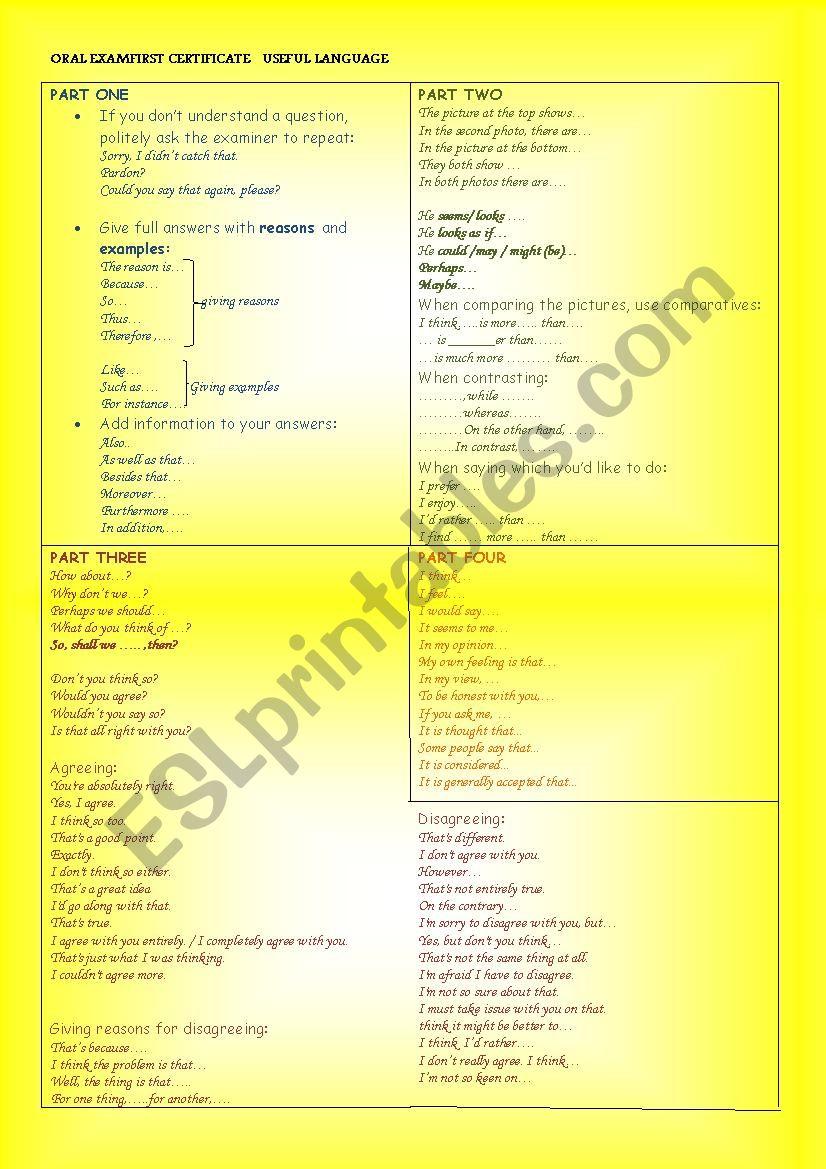 First Certificate Oral Exam worksheet