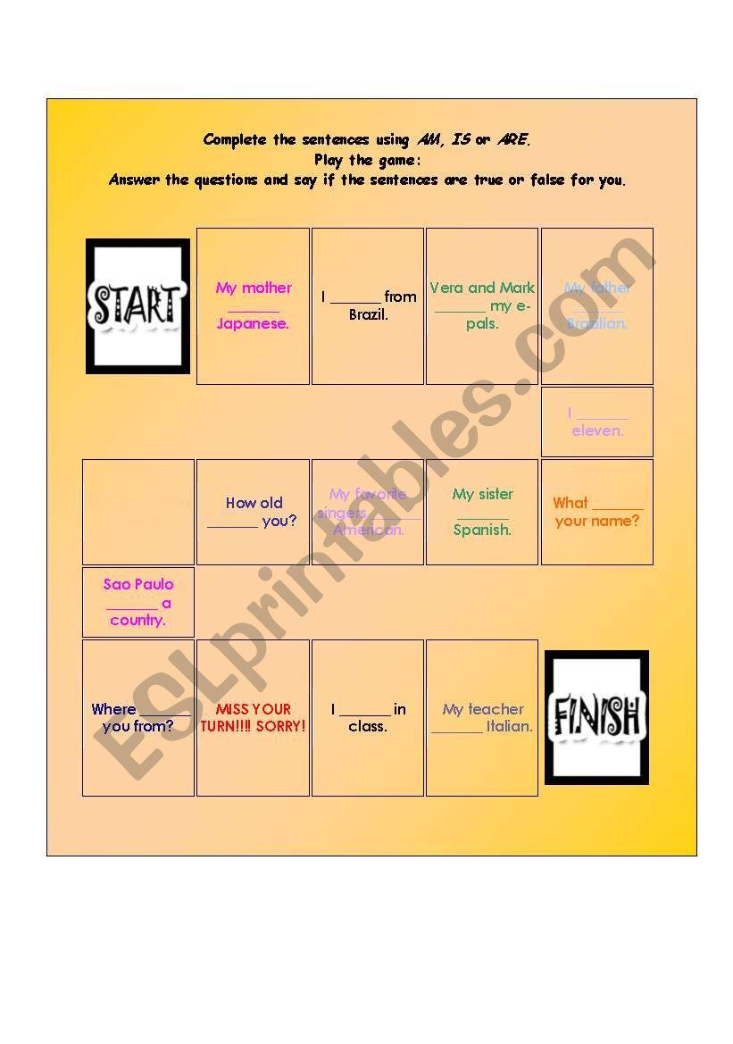 Verb to be - boardgame worksheet