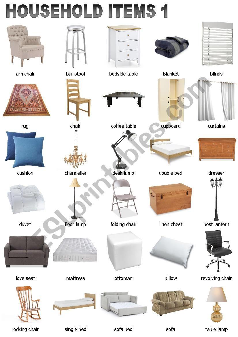 Household Items 1 worksheet