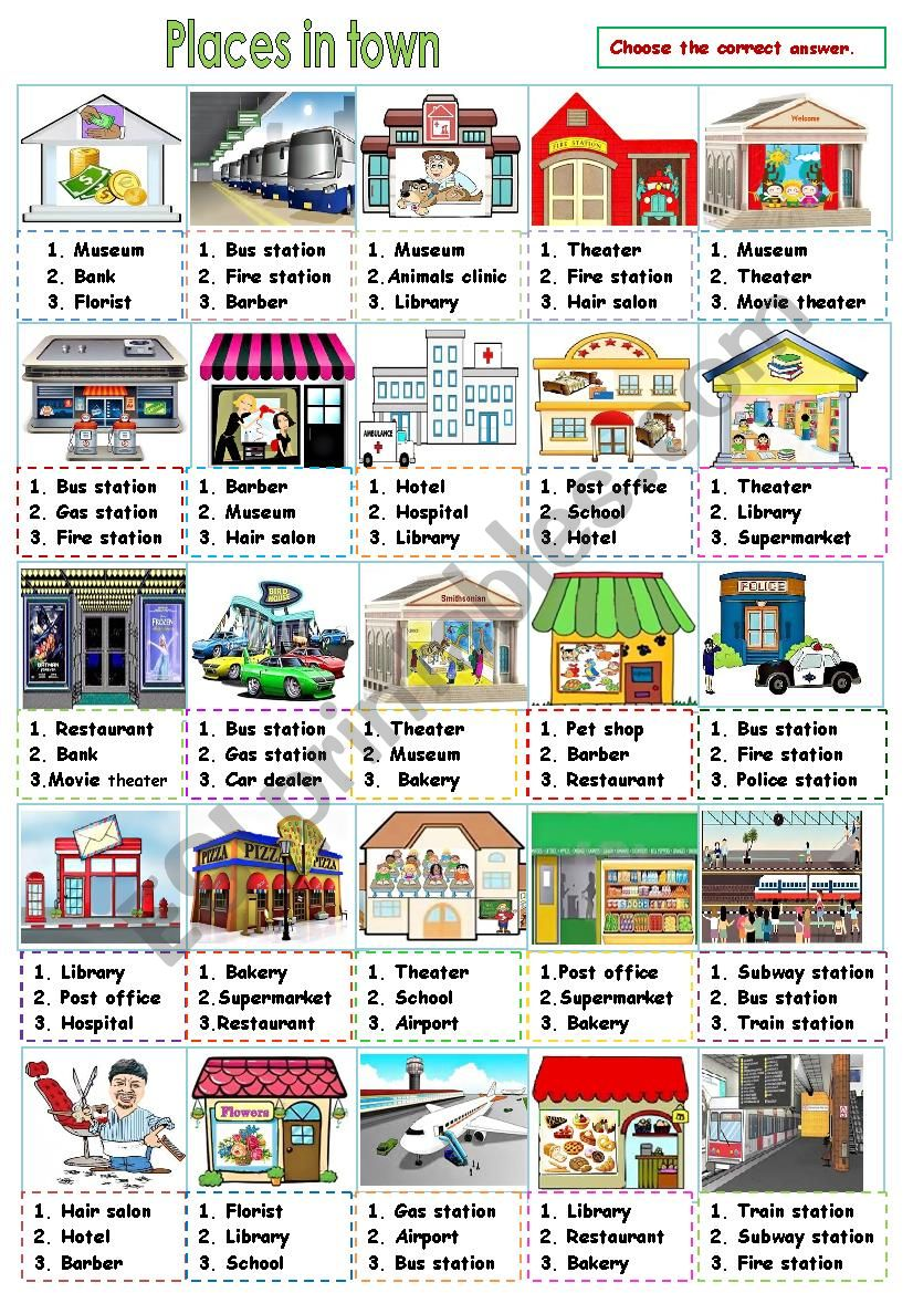Places in town Part 1 worksheet