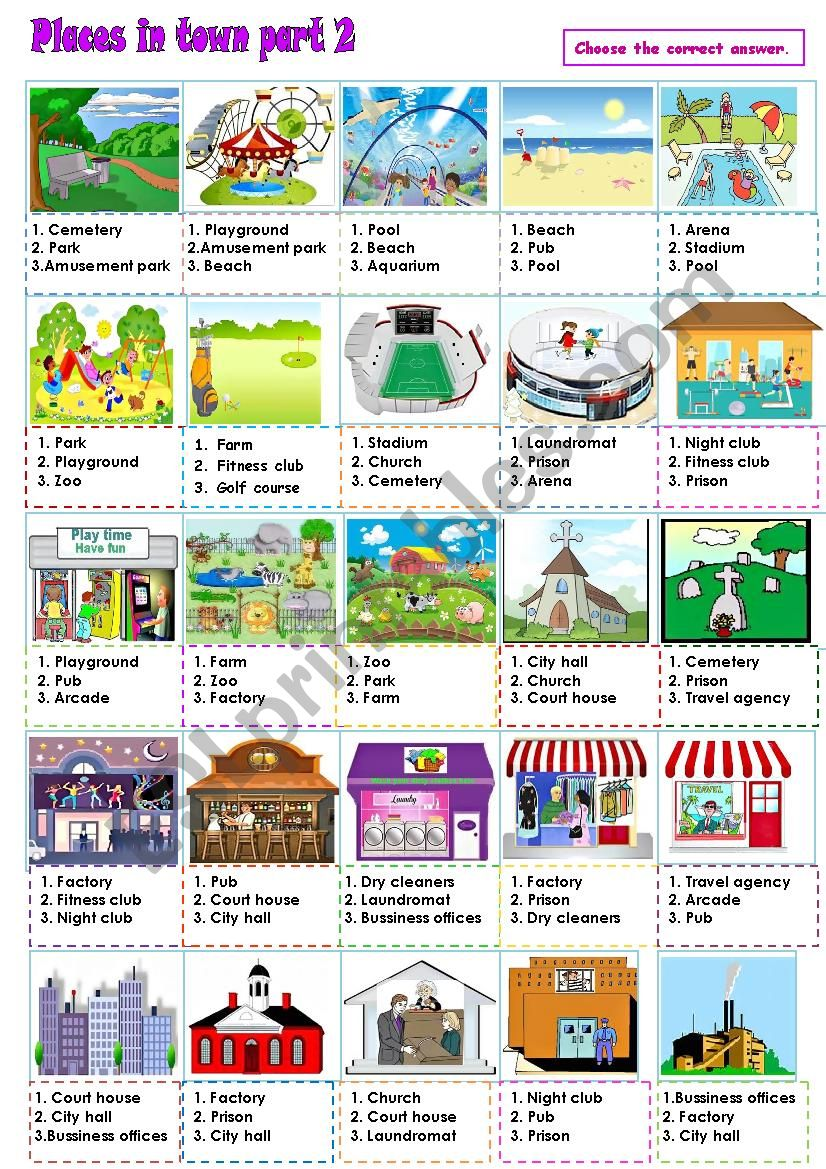 Places in town Part 2 worksheet