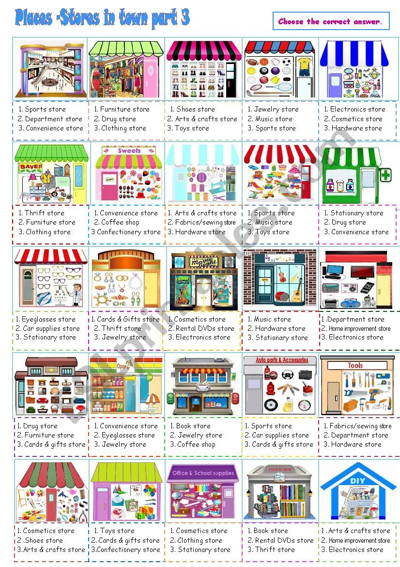 Places_Stores in town Part 3 worksheet