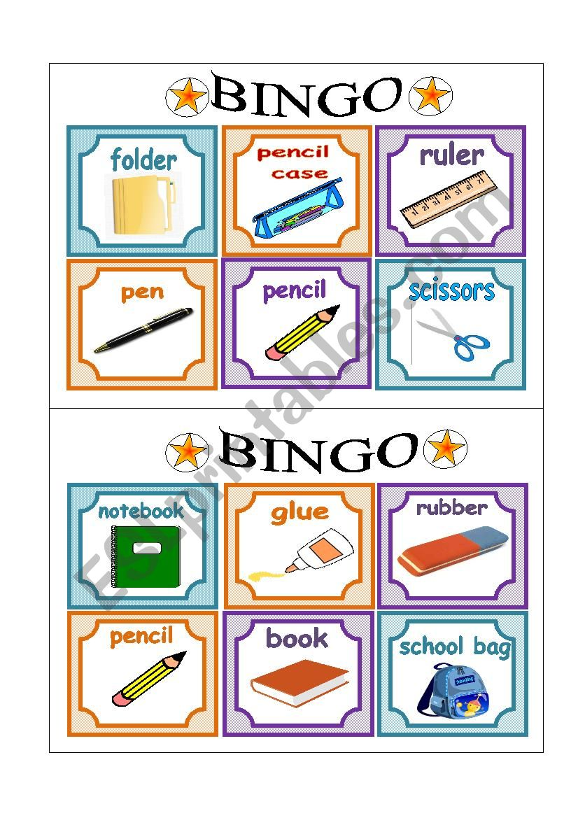 PART 1 School Bingo Cards worksheet