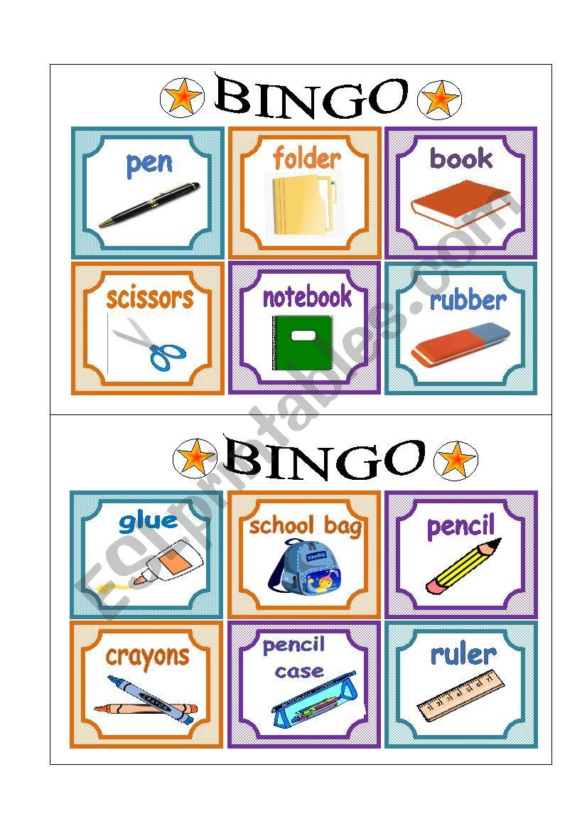 PART 2 School Bingo Cards worksheet