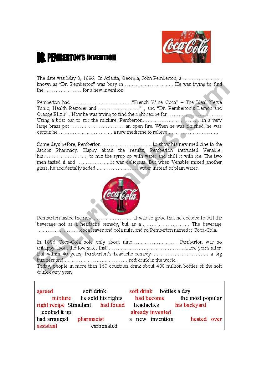 The Story of Coca-Cola worksheet