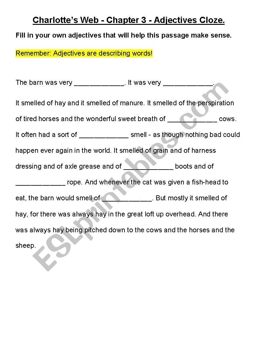 Charlotte´s Web Chapter 3 Adjectives Cloze - ESL worksheet
