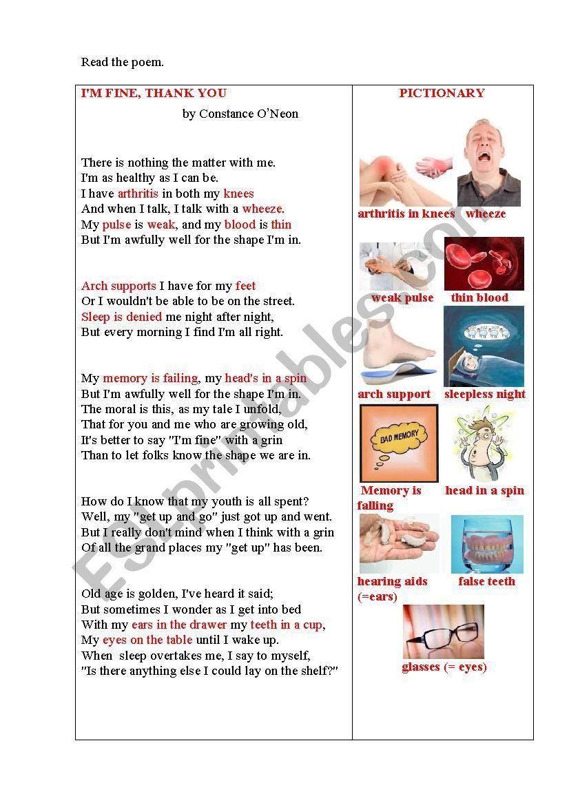 I AM FINE (a poem+ questions) worksheet