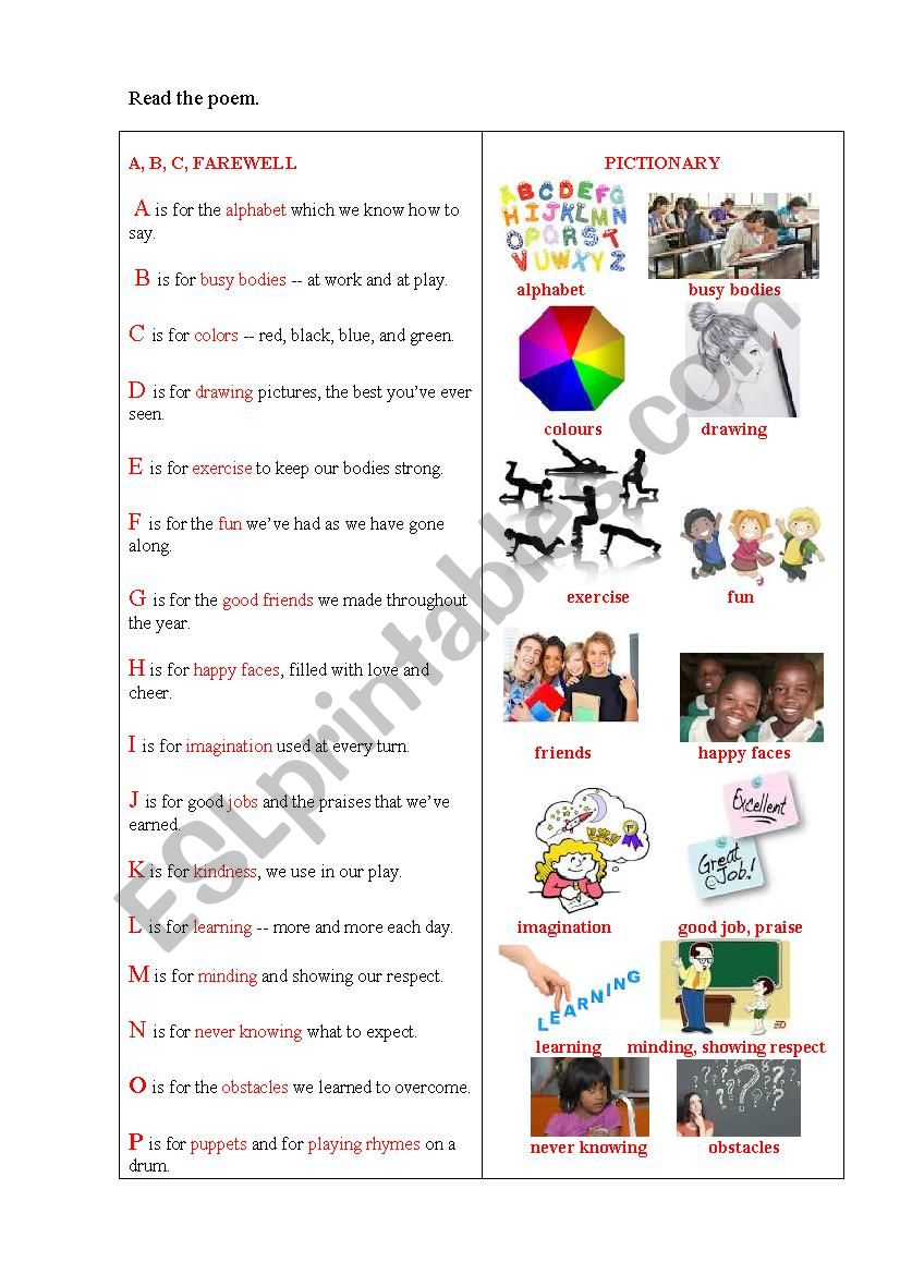 ABC SCHOOL LEAVING (A poem + a task) - ESL worksheet by