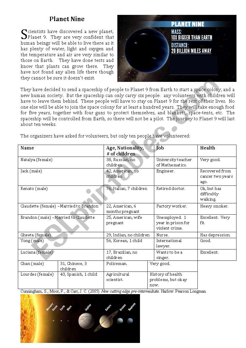 Planet Nine Reading, Vocabulary worksheet and Discussion - New Cutting Edge Adaptation