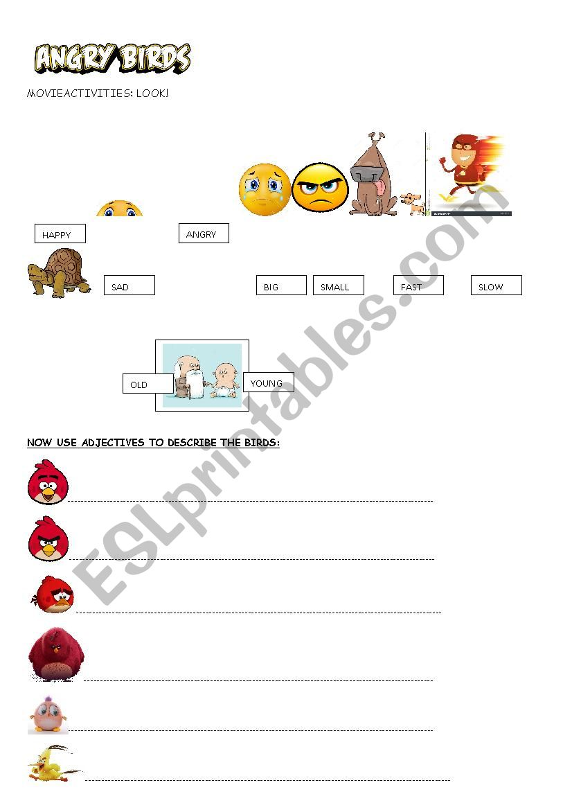 Angry birds movie activity - ESL worksheet by cecilia caceres