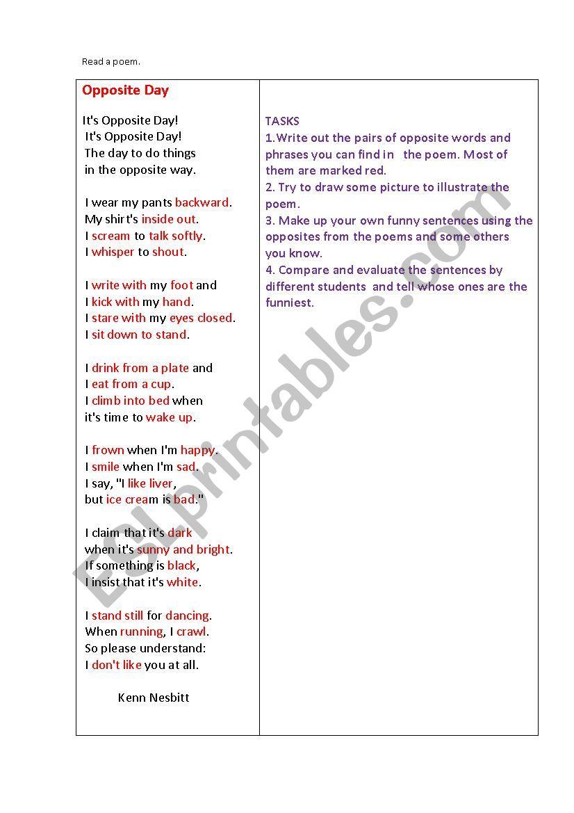 OPPOSITE DAY (a poem + some tasks)