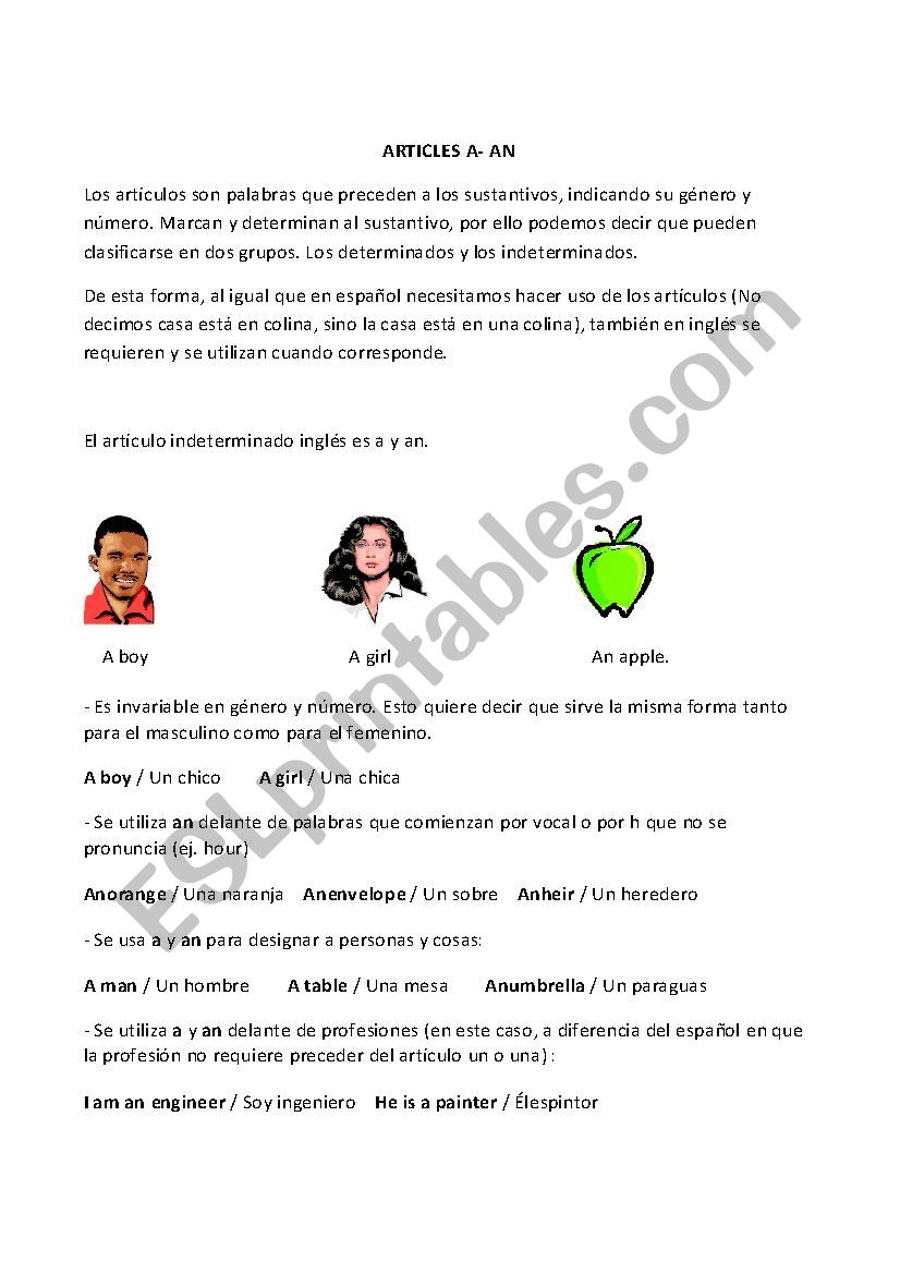 ARTICLES A- AN - ESL worksheet by PerlaValle