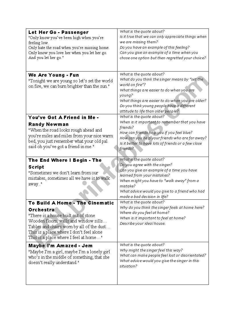 Song lyrics to stimulate discussion - ESL worksheet by FrauSue