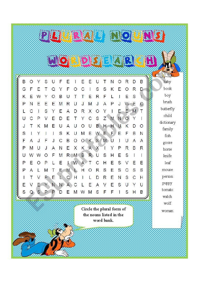 PLURAL NOUNS 1:  Wordsearch worksheet