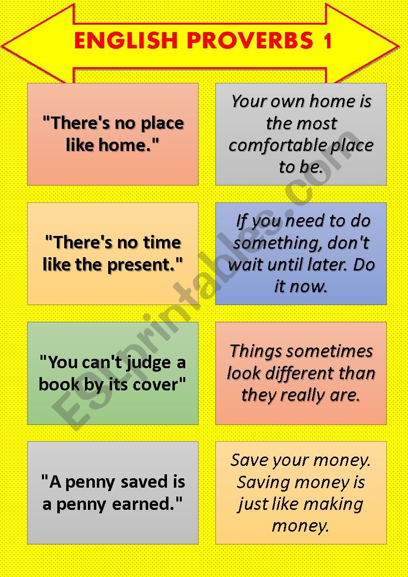 English Proverb-Explanation Cards SET 1 (8 pages)