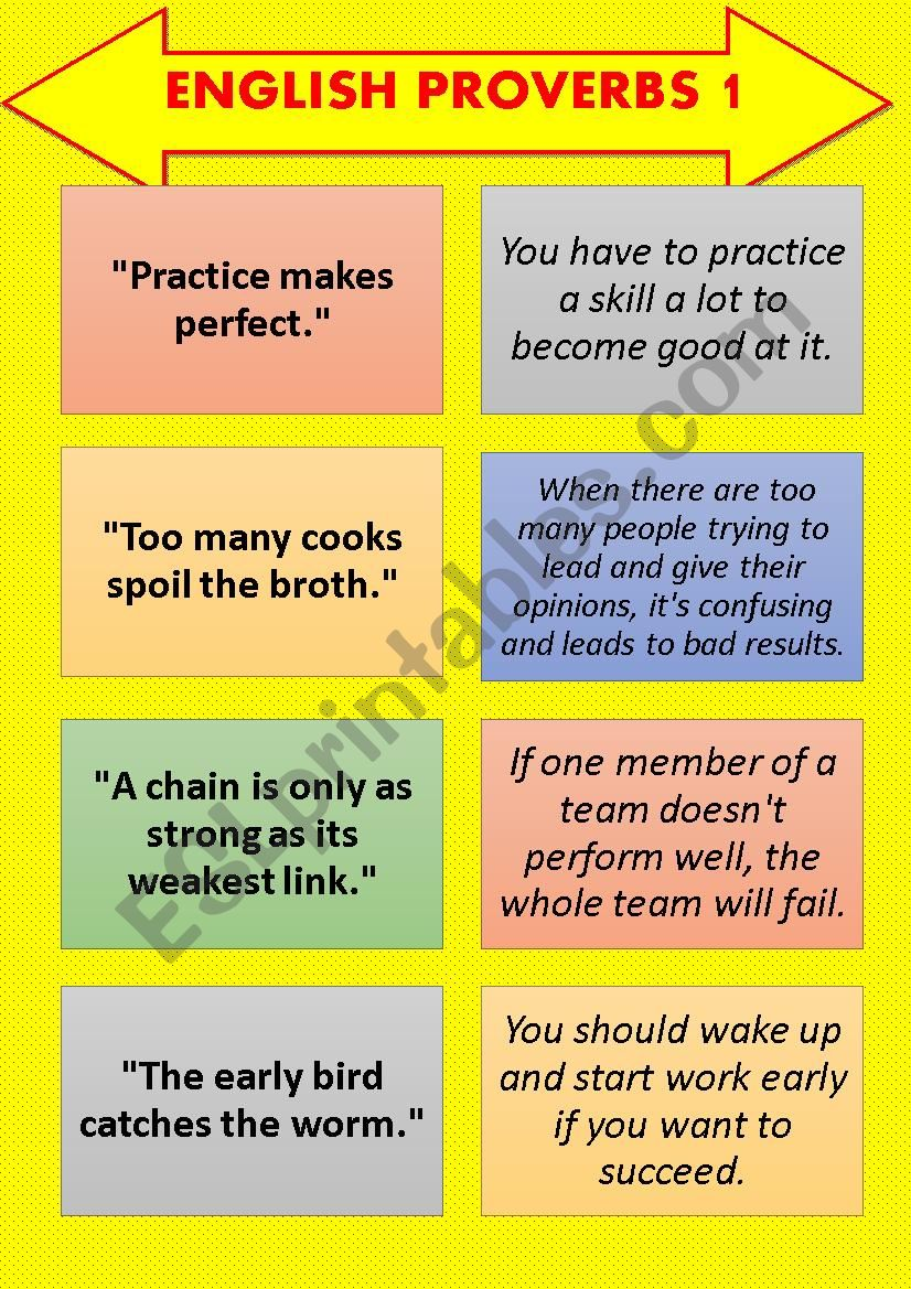English Proverb-Explanation Cards SET 1 (8 pages) - ESL