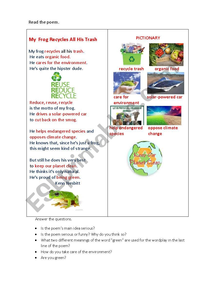 MY FROG (a poem+ questions) worksheet
