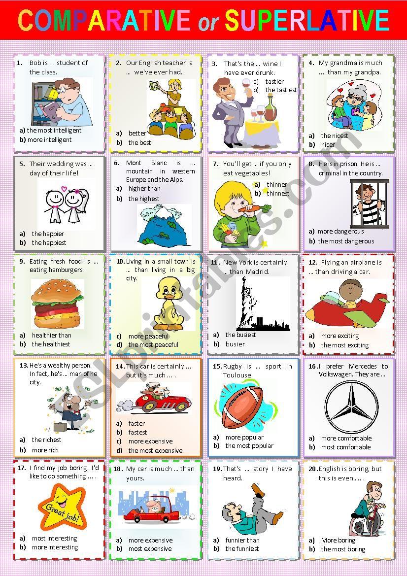 Comparative or Superlative worksheet