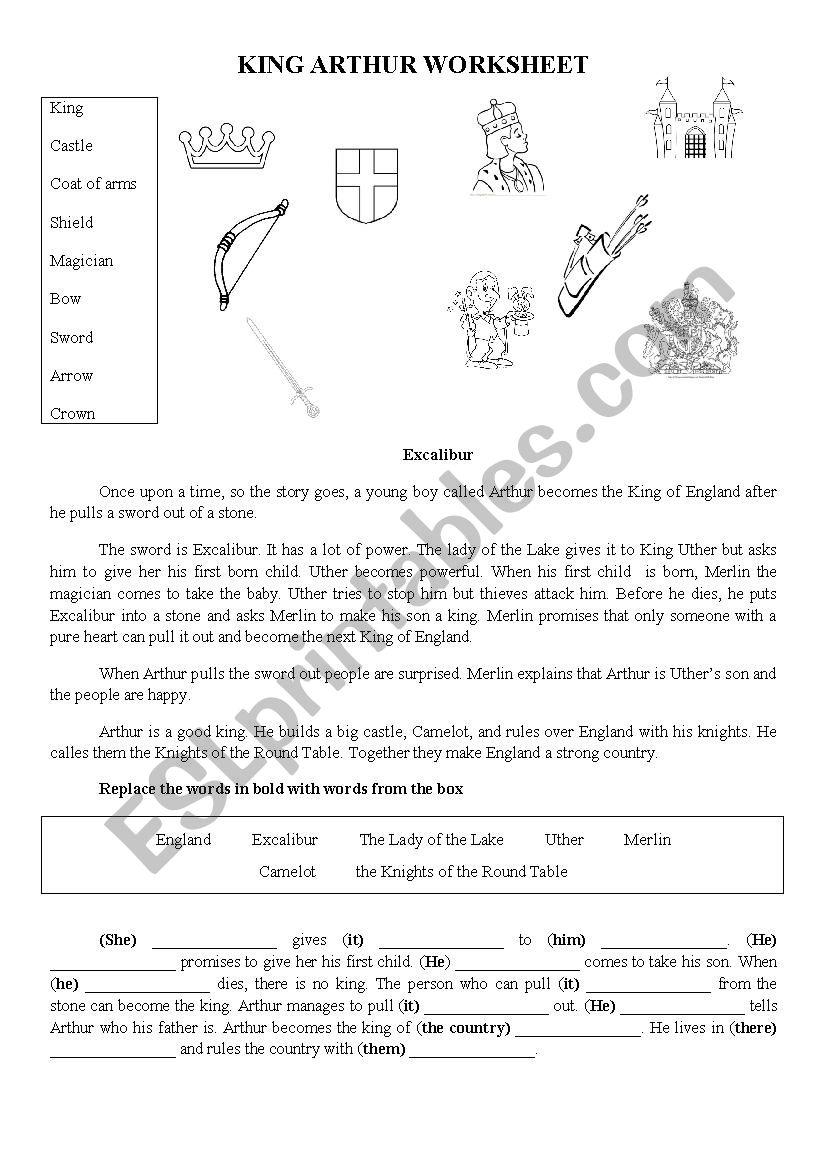 KING ARTHUR worksheet worksheet