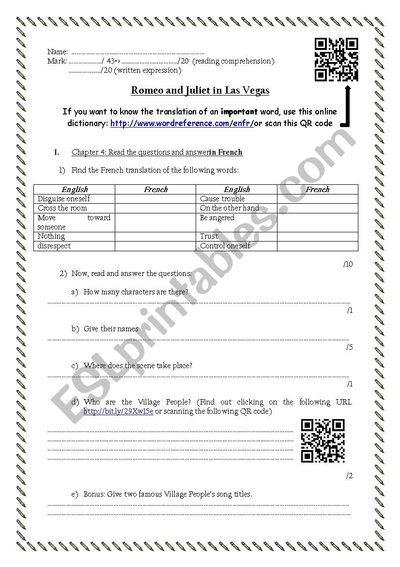 Romeo and Juliet in Las Vegas reading worksheet #4 (chapter 5 and 6)