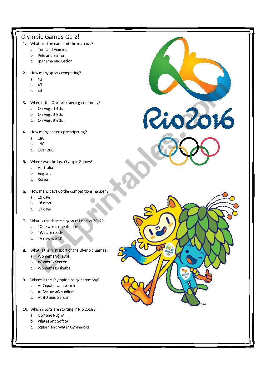 olympic games - rio 2016 - esl worksheet by marah78