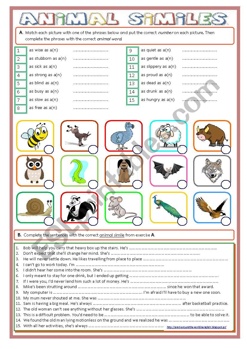 Animal Similes worksheet