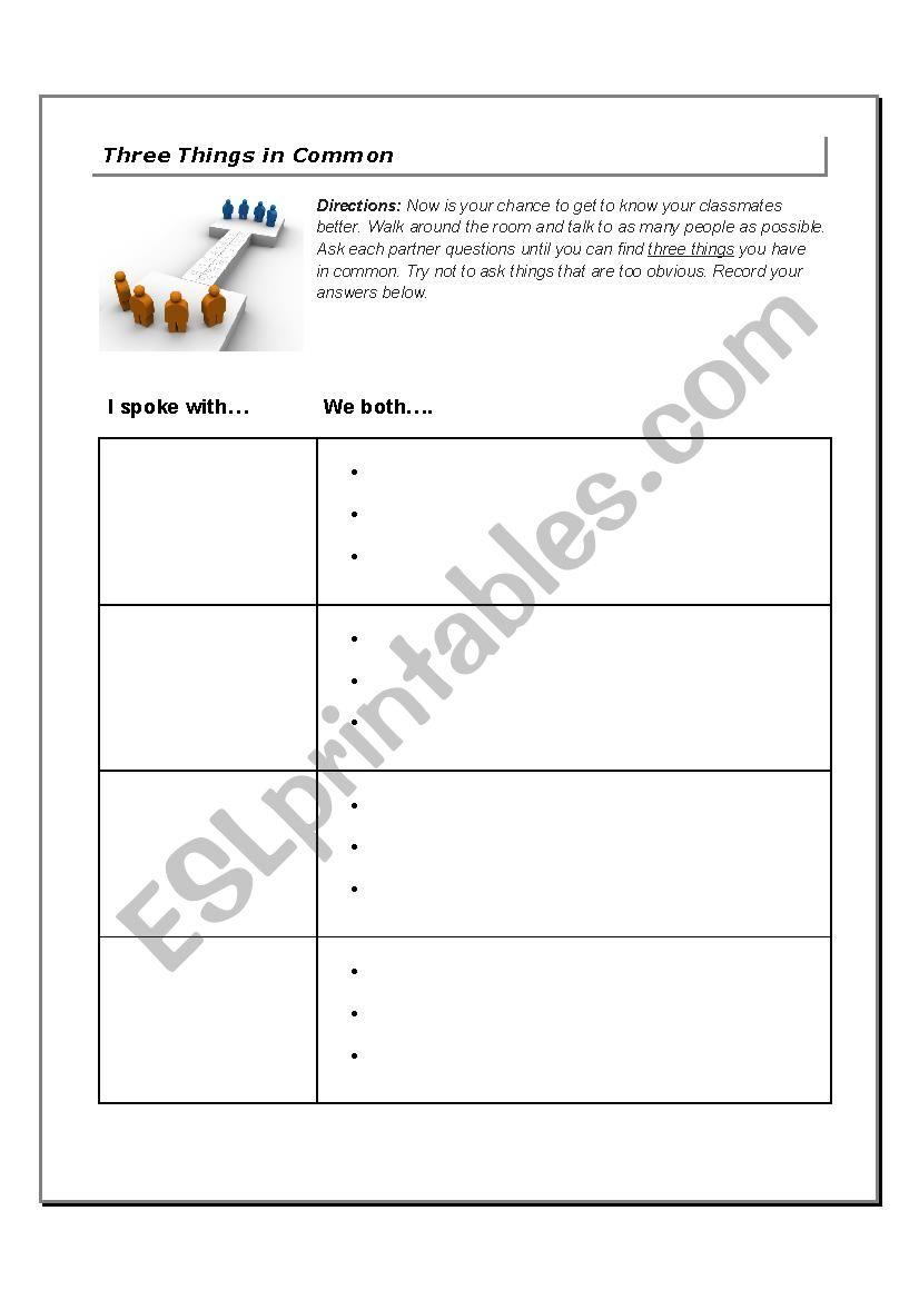 Three Things in Common - ESL worksheet by Howdy