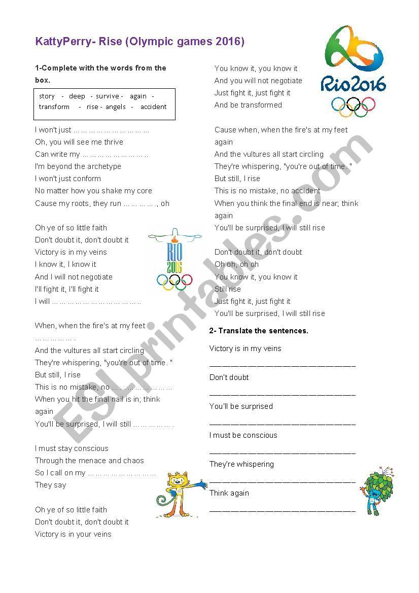 Rio 2016 worksheet