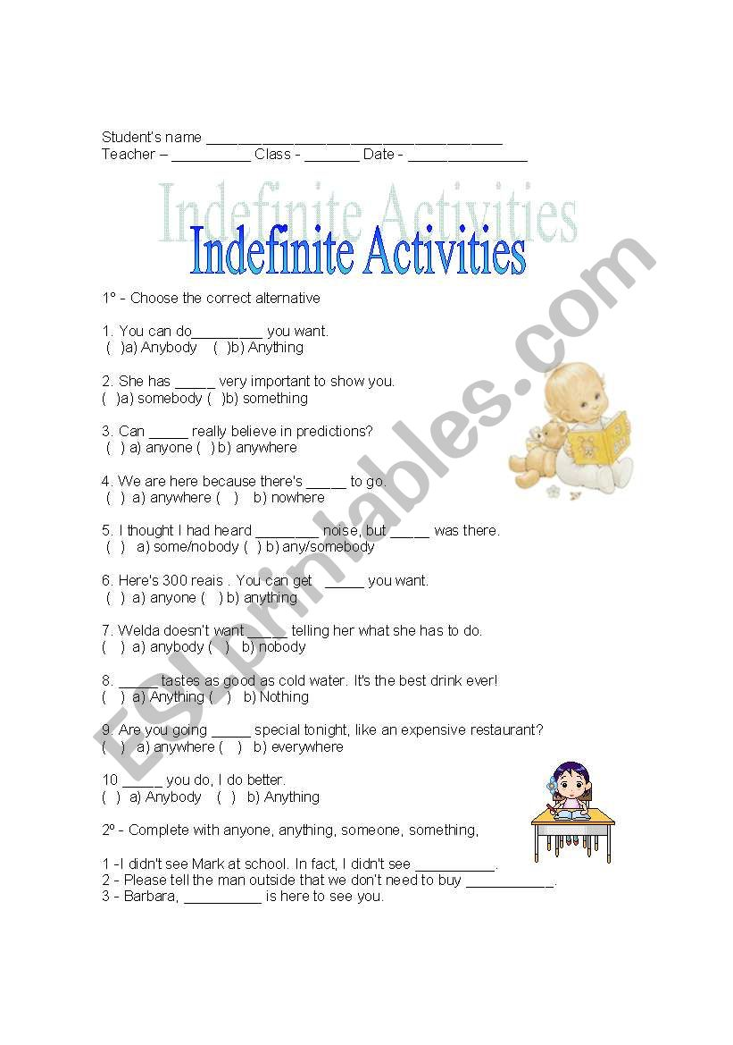 Some/any activities worksheet