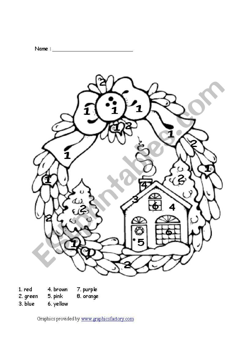 Christmas colour by number - ESL worksheet by manonski (f)