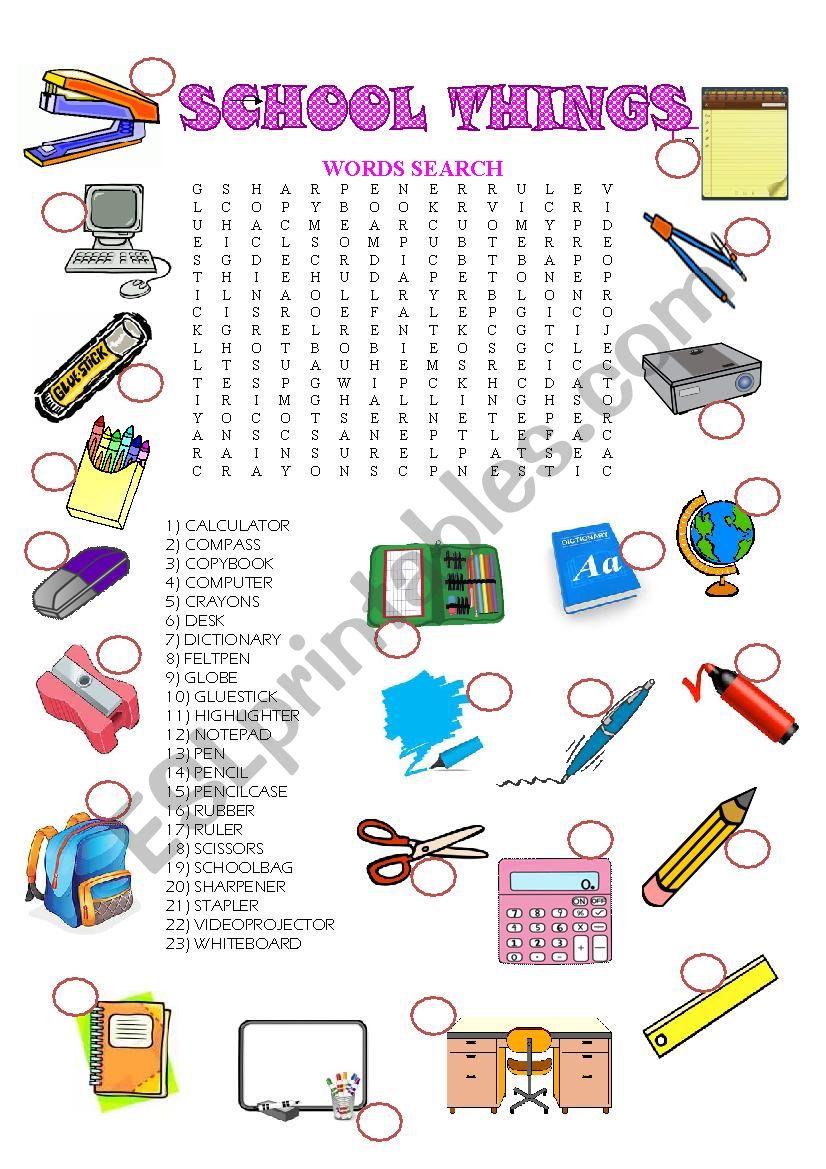School - thing (wordsearch) worksheet