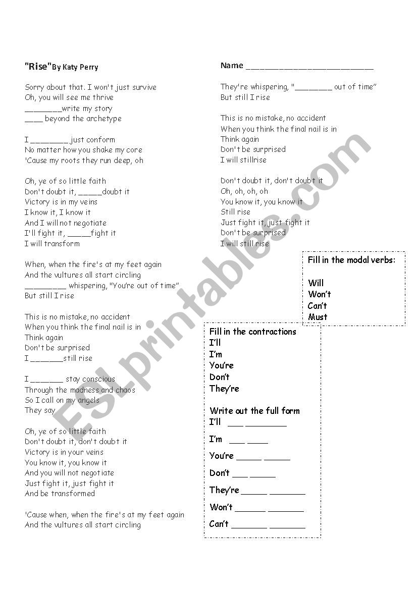 Worksheets Rise Over Run Worksheets rise by katy perry worksheet esl mshoff worksheet