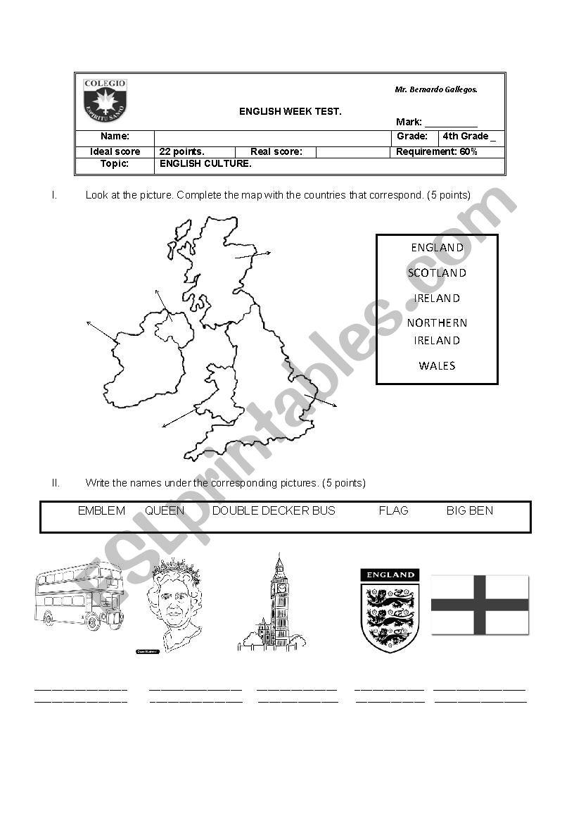 British Culture test worksheet