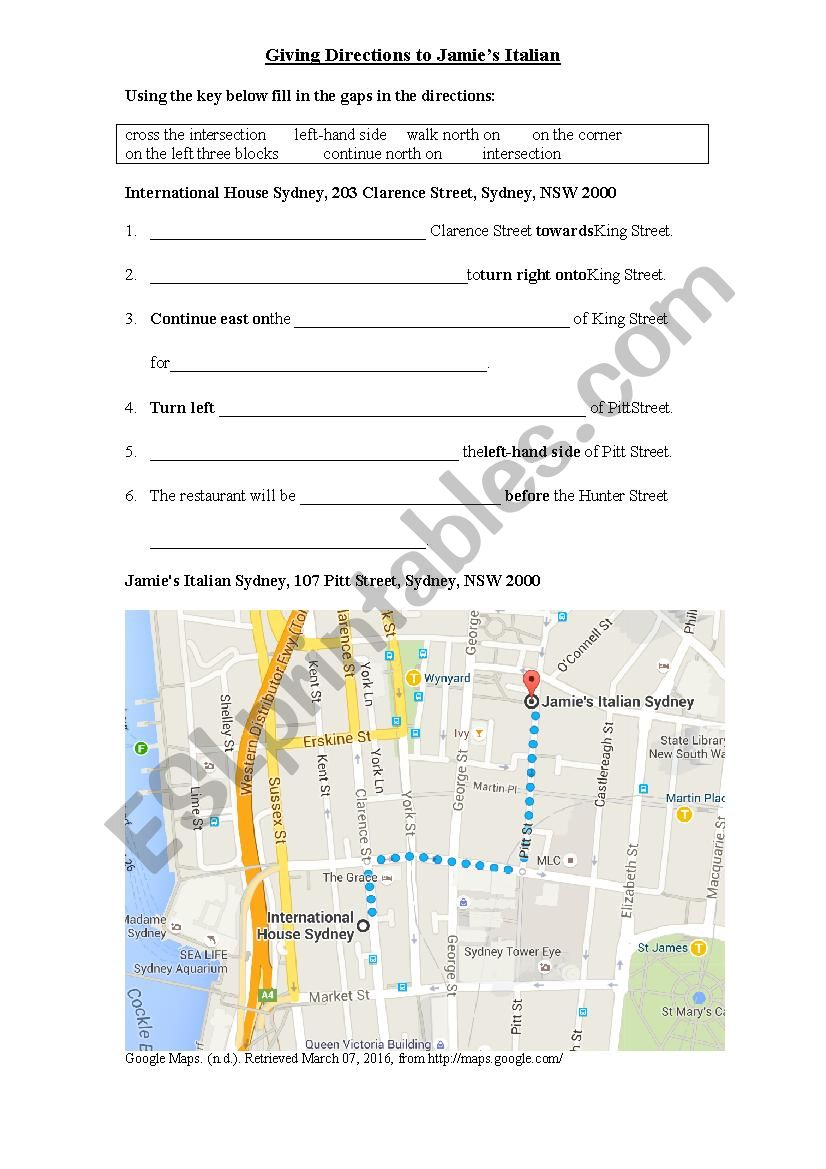 Directions Gapfill Exercise worksheet