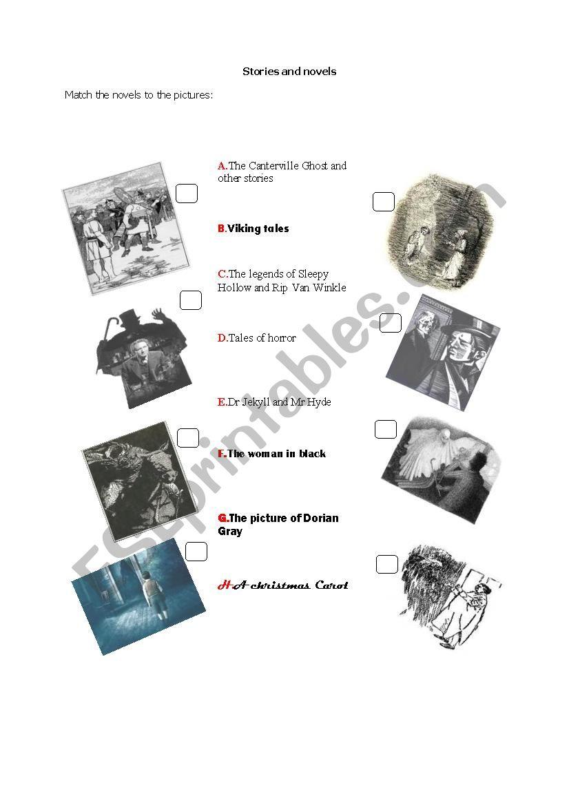 Stories and novels worksheet