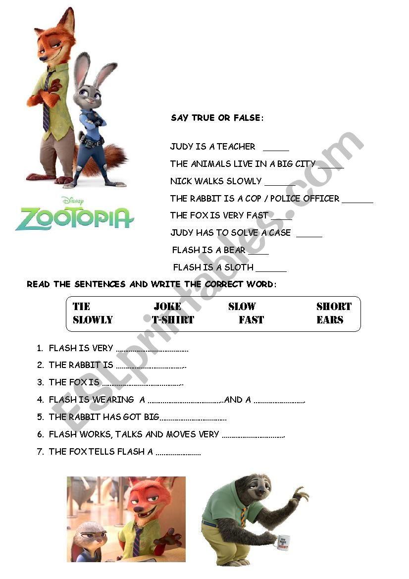zootopia - ESL worksheet by renatamaria